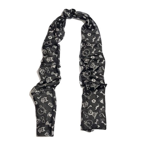 One Time Deal - 100% Mulberry Silk Black and White Colour Owl and Creature Printed Scarf (Size 180X50 Cm)