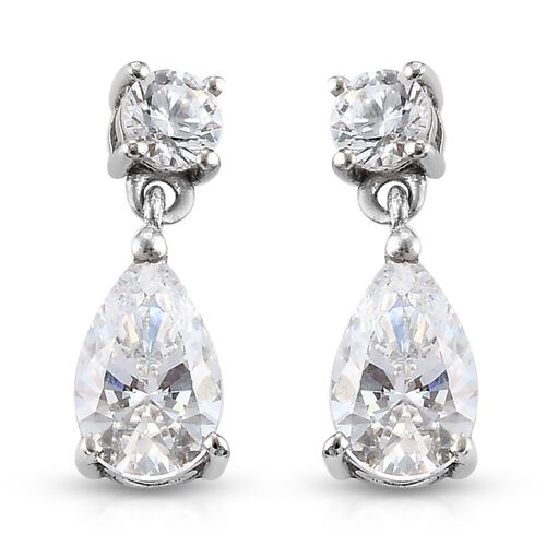 J Francis Platinum Overlay Sterling Silver Dangling Earrings (with Push Back) Made with DWAROVSKI ZI