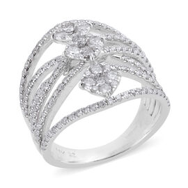 NY Close Out 1.50 Ct Diamond Designer Ring in 14K White Gold 6.80 Grams I1 GH