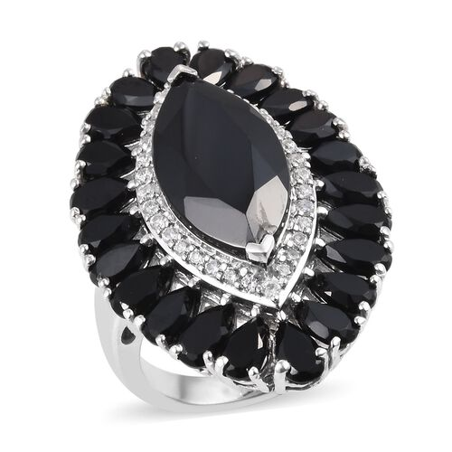 13 Carat Boi Ploi Black Spinel and Zircon Halo Ring in Platinum Plated Silver 6.20 Grams