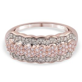 9K Rose SGL Certified Gold Natural Pink and White Diamond (I3 /G-H) Cluster Ring 0.50 Ct.
