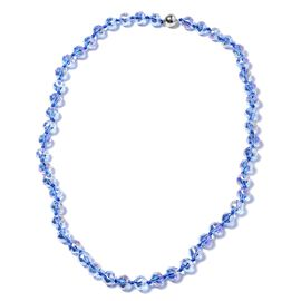 Simulated Blue AB Crystal Beaded Necklace in Stainless Steel 28 Inch