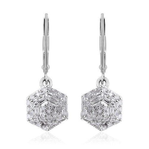 3 Piece Set - Diamond (rnd and Bgt) Pendant with Chain (Size 18), Lever Back Earrings and Ring in Platinum Overlay Sterling Silver 1.00 Ct, Silver wt 7.60 Gms
