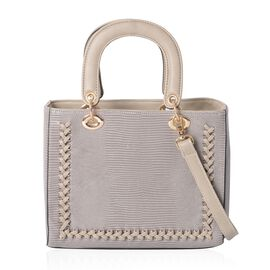 Close Out Deal- Grey Colour Snake Skin Pattern Tote Bag with Removable Shoulder Strap (Size 25x20.5x