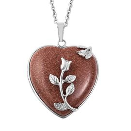Gold Sandstone Flower Vine Heart Pendant with Chain (Size 24) in Stainless Steel 23.50 Ct.