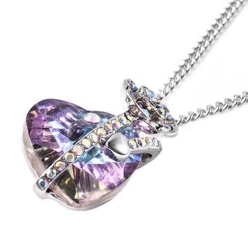 Simulated Purple Quartz and White AB Austrian Crystal Heart and Rose Necklace (Size 20 with 2 inch Extender) in Silver Tone