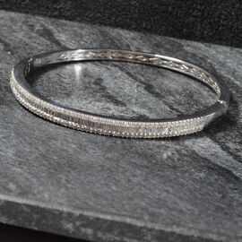 1.50 Carat Diamond Cluster Bangle in Platinum Plated Sterling Silver 14.85 Grams