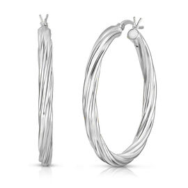 Sterling Silver Twisted Hoop Earrings (with Clasp), Silver wt 6.45 Gms