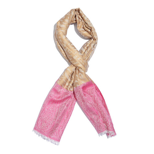 Leopard and Paisley Pattern Beige and Pink Colour Reversible Scarf (Size 190x70 Cm)
