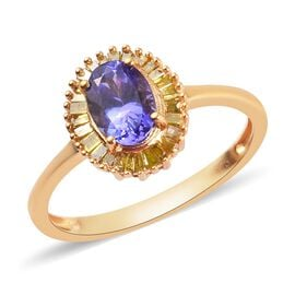 Tanzanite and Yellow Diamond Ring in 14K Gold Overlay Sterling Silver 1.13 Ct.