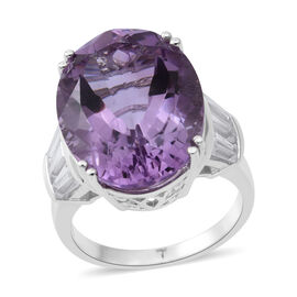 17.64 Ct Rose De France Amethyst and Zircon Solitaire Ring in Rhodium Plated Silver 5.71 Grams