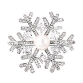 Simulated Diamond and White Shell Pearl Snowflake Brooch in Silver Tone