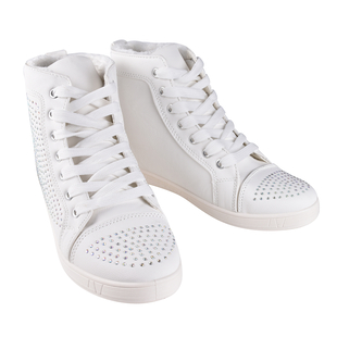 White Ankle Trainers with Faux Fur Lining