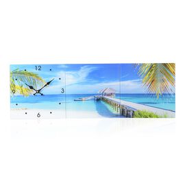 Home Designs: Beach and Bridge Pattern Three Piece Wall Clock (Size 90x30x4 Cm)