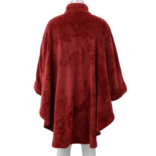 Solid Colour Flannel Wrap with Front Zipper Opening (Size 95 Cm) - Wine Red