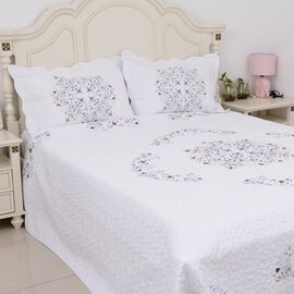 3 Piece Set - Filigree Embroidery Microfibre Quilt (Size 260x240cm) and 2 Pillow Case (70x50cm) - Fi