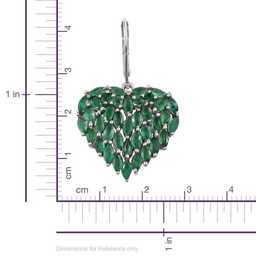 Designer Inspired Kagem Zambian Emerald (Mrq) Heart Lever Back Earrings in Platinum Overlay Sterling Silver 5.000 Ct.Silver wt 5.73 Gms.