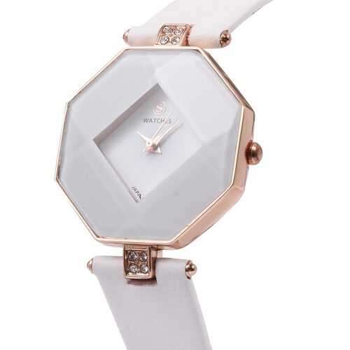 STRADA Japanese Movement White Crystal Studded Water Resistant Watch with White Strap