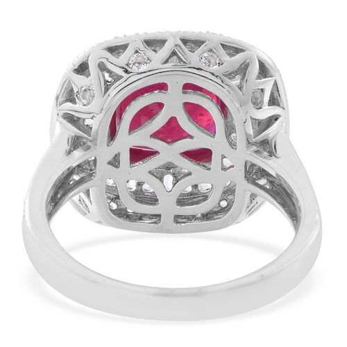 African Ruby (Cush 6.00 Ct), White Topaz Ring in Rhodium Plated Sterling Silver 9.500 Ct. Silver wt 7.00 Gms.