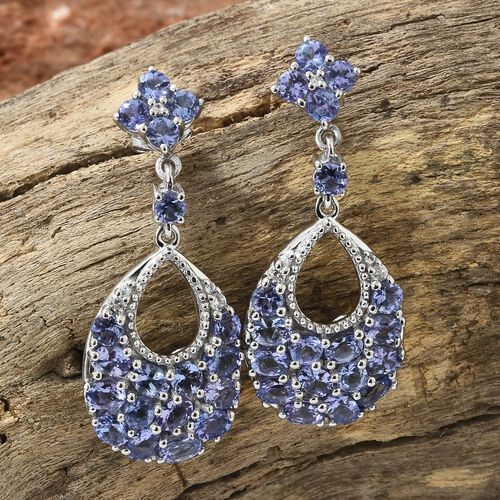 Tanzanite (Ovl and Rnd), Natural White Cambodian Zircon Dangle Earrings (with Push Back) in Platinum Overlay Sterling Silver 6.500 Ct.