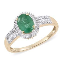 9K Yellow Gold Kagem Zambian Emerald (Ovl 1.10 Ct), Diamond Ring 1.500 Ct.