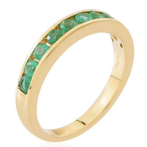 Exclusive Edition- ILIANA 18K Yellow Gold AAAA Kagem Zambian Emerald (Rnd) Half Eternity Band Ring 1.150 Ct. Gold Wt. 4.60 Grams