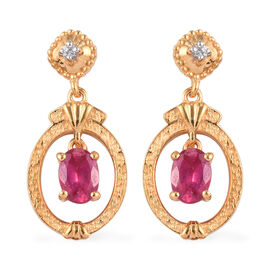 African Ruby and Natural Cambodian Zircon Dangling Earrings in 14K Gold Overlay Sterling Silver 2.08