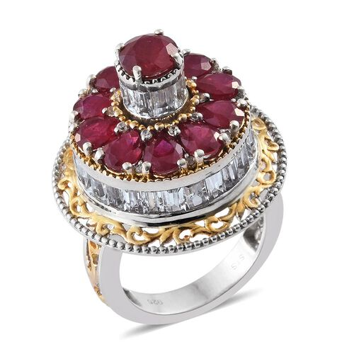 Exclusive Edition- Designer Inspired African Ruby (Rnd), White Topaz Spinner Ring in Platinum and Yellow Gold Overlay Sterling Silver 10.450 Ct. Silver wt. 10.98 Gms.
