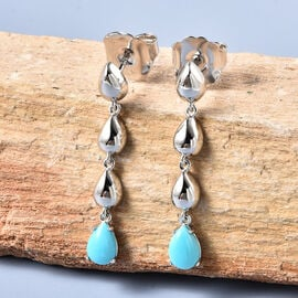 LucyQ Arizona Sleeping Beauty Turquoise Drop Earrings (with Push Back) in Rhodium Overlay Sterling Silver 1.37 Ct.
