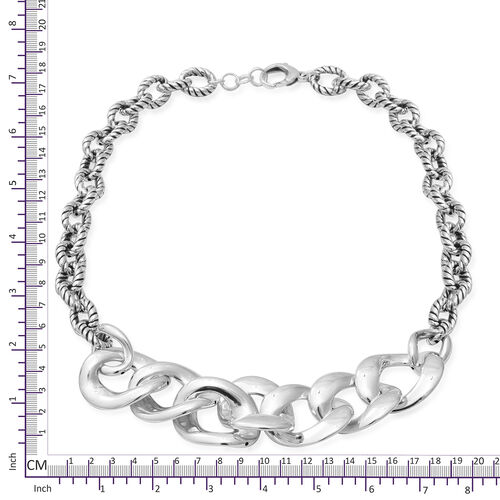 Sterling Silver Link Necklace (Size 20 with Extender), Silver wt 45.0 Gms