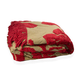 100% Cotton Sage Red Colour Tufted Bed Cover with Fringes Size 260X240 Cm and 2 Pillow Cases