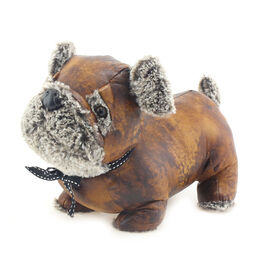 Lesser & Pavey Faux Leather Pug Doorstop in Brown (28X22X16 CM)