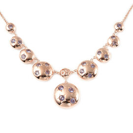 RACHEL GALLEY Orbit Collection - Tanzanite Necklace (Size 20) in Rose Gold Overlay Sterling Silver 2