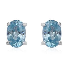 Ratnakiri Blue Zircon (Ovl) Stud Earrings (with Push Back) in Sterling Silver 1.55 Ct.
