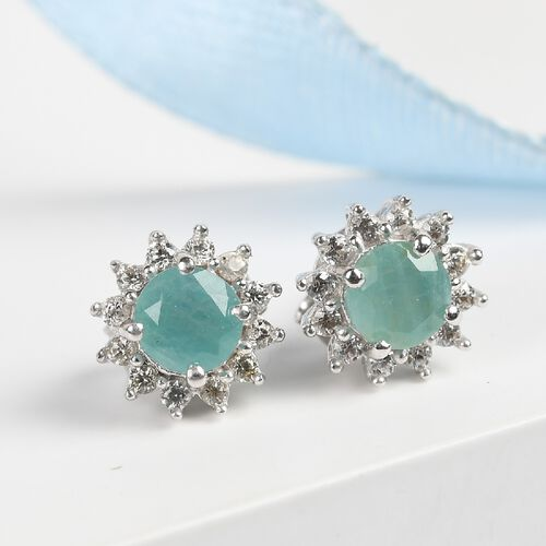 Grandidierite and Natural Cambodian Zircon Starburst Halo Stud Earrings (with Push Back) in Platinum Overlay Sterling Silver 1.24 Ct.