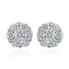 RHAPSODY 950 Platinum IGI Certified Diamond (Rnd) (VS/E-F) Flower Stud Earrings (with Screw Back) 1.000 Ct.