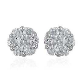 RHAPSODY 950 Platinum IGI Certified Diamond (Rnd) (VS/E-F) Flower Stud Earrings (with Screw Back) 1.