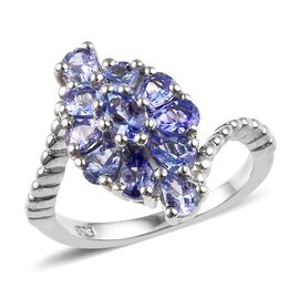 1.50 Ct Tanzanite Cluster Floral Ring in Platinum Plated Sterling Silver