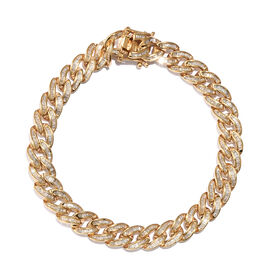 3 Carat Diamond Curb Chain Bracelet in Gold Plated Sterling Silver 23.74 Grams 8 Inch