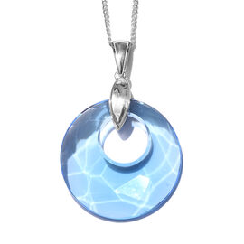 J Francis - Crystal from Swarovski Aquamarine Colour Crystal Pendant With Chain (Size 20) in Platinu