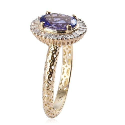 9K Yellow Gold Tanzanite and Natural Diamond Halo Ring 1.50 Ct.
