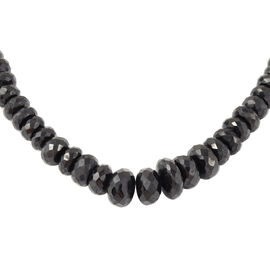 460 Ct Natural Boi Ploi Black Spinel Beaded Necklace in Rhodium Plated Sterling Silver 20 Inch