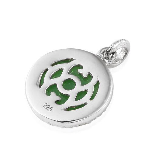 One Time Mega Deal-Green Jade (Rnd) Pendant in Platinum Overlay Sterling Silver 6.500 Ct.