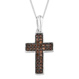 Limited Edition- Designer Inspired Red and Blue Diamond Cross Pendant with Chain (Size 18) in Platinum and Black Overlay Sterling Silver 0.500 Ct.