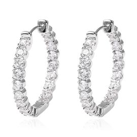 Simulated White Diamond Hoop Earrings in Silver Tone with Clasp