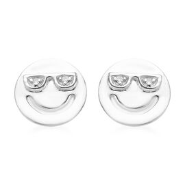 Diamond Happy Smiley Stud Earrings (with Push Back) in Platinum Overlay Silver, Silver wt 1.32 Gms