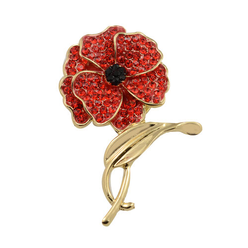 TJC Poppy Design - Red and White Austrian Crystal Magnetic Poppy Brooch in Yellow Plated