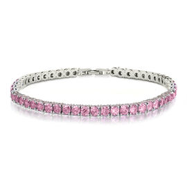 One Time Mega Deal- Simulated Kunzite (Rnd 4mm, 10 Ct Equivalent) Tennis Bracelet (Size 8) in Silver