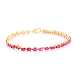 AA African Ruby Bracelet (Size 7.5) in 14K Gold Overlay Sterling Silver 10.50 Ct, Silver wt 7.00 Gms