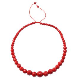 HONG KONG COLLECTION- Red Howlite Graduated Adjustable Necklace (Size 18 -24)  289.000 Ct.
